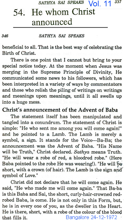 Sai Baba claim he was Father who sent Christ to earth