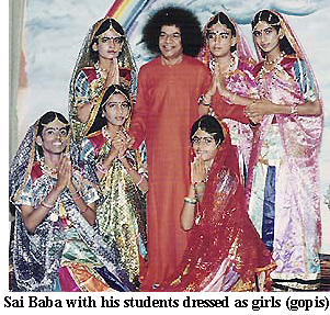 SATHYA SAI BABA WITH HIS STUDENT BOYS DRESSED UP AS FEMALE COWGIRLS (GOPIS)