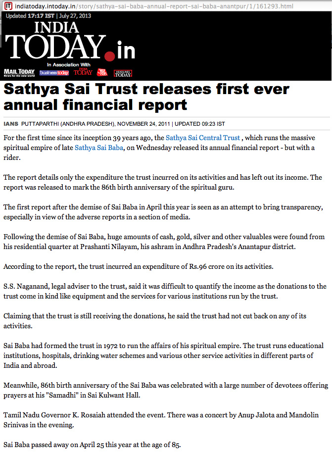 Sathya Sai Central Trust's first financial report