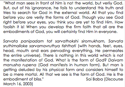 All is God, according to Sai Baba