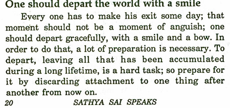 Sai Baba advice on how to die