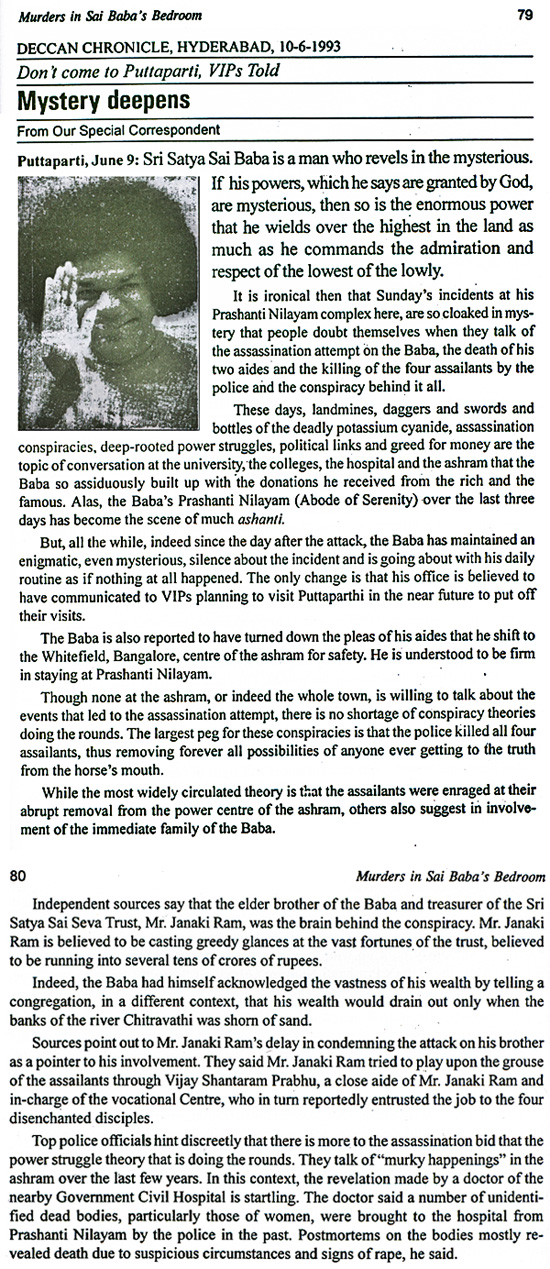 Mystery of murders in Sai Baba' apartment deepens - Deccan Chronicle, Hyderabad 10-6-1993