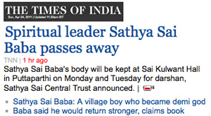 Sathya Sai Baba's death announced: Times of India