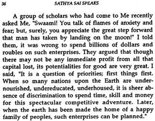 Sathya Sai Baba on space research